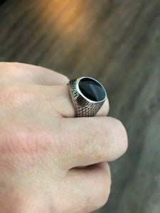 Stainless Steel Greek Key  & Polished Onyx Mens Signet ring - RAREBoutiques