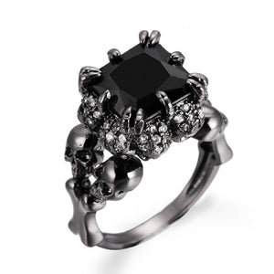 Black Skull  cocktail Ring