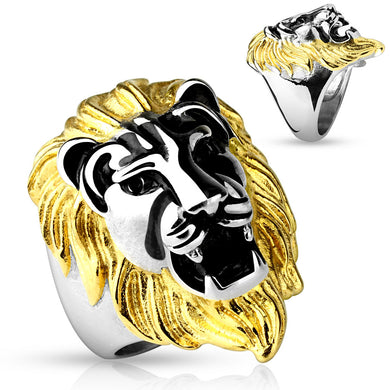 Gold Mane Lion Head - Stainless Steel Ring