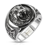 Lion Head with Iron Cross - Stainless Steel Ring