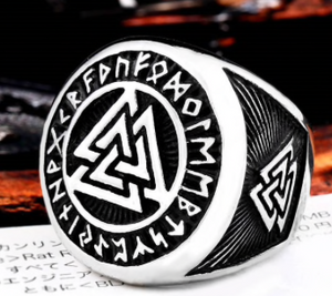 Nordic Valknut / Runes Stainless Steel Ring 316L - RAREBoutiques