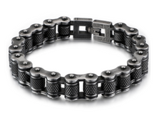 Stainless Steel 316L Bike Chain Bracelet with rollers - Gun Metal Finish 14mm Width - RAREBoutiques