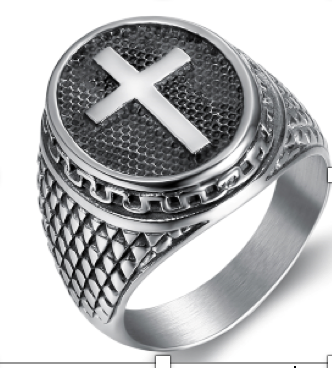 Cross Ring Stainless Steel 316L - RAREBoutiques
