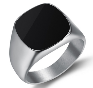 Stainless Steel & Polished Onyx Mens Signet ring - RAREBoutiques