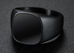 All Black Stainless Steel & Onyx Signet Ring - RAREBoutiques
