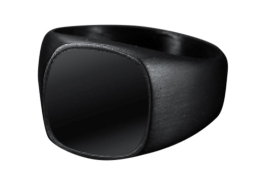 All Black Stainless Steel & Onyx Signet Ring