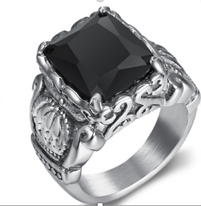 Stainless Steel with black CZ & Crown 316L Ring - RAREBoutiques