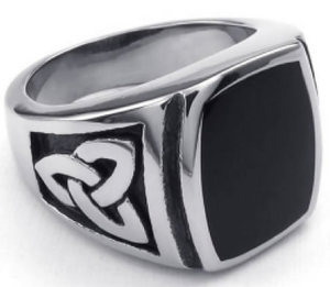 Stainless Steel & Onyx Signet Ring - RAREBoutiques
