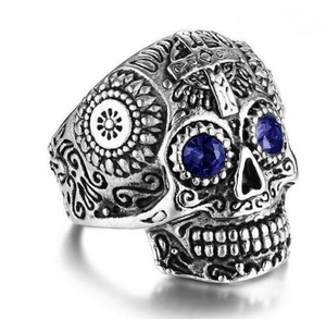Stainless Steel 316L Sugar Skull design -Blue Eyes - RAREBoutiques