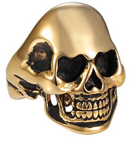 Skull with Heart Eyes - Stainless Steel Ring with 18kt Gold - RAREBoutiques