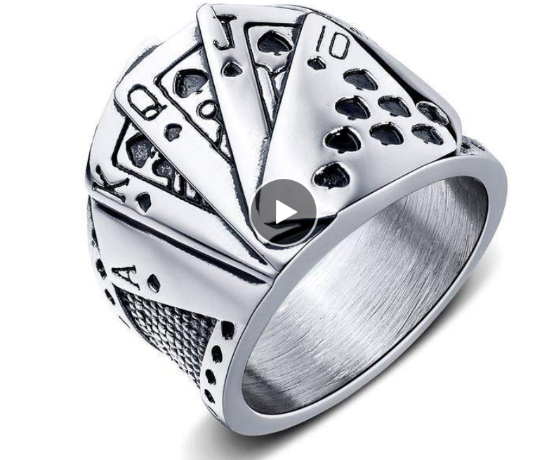 Playing Cards Stainless Steel Mens Ring 316L - RAREBoutiques