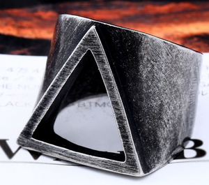Mens Geometric Stainless Steel Ring 316L - RAREBoutiques