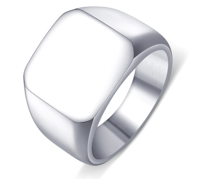 Mens Polished Finish Stainless Steel Signet Ring 316L - RAREBoutiques