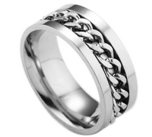 Stainless Steel Band - Spinner Cuban Link Ring
