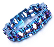 Stainless Steel Bike Chain Bracelet 15mm - Blue