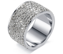 Womans 12mm Stainless Steel & CZ Band Ring - RAREBoutiques