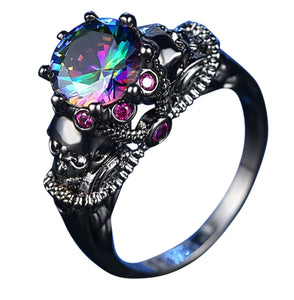 Womens CZ Fashion Skull Ring with Multi Color CZ