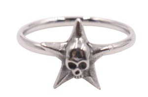 Woman's Star Skull Stainless Steel Cobra Ring