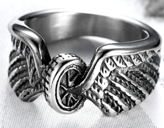 Woman's Biker Wings Stainless Steel  Ring - RAREBoutiques