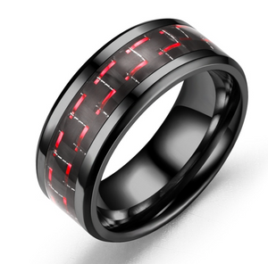 Black Stainless Steel & Carbon Fiber Ring