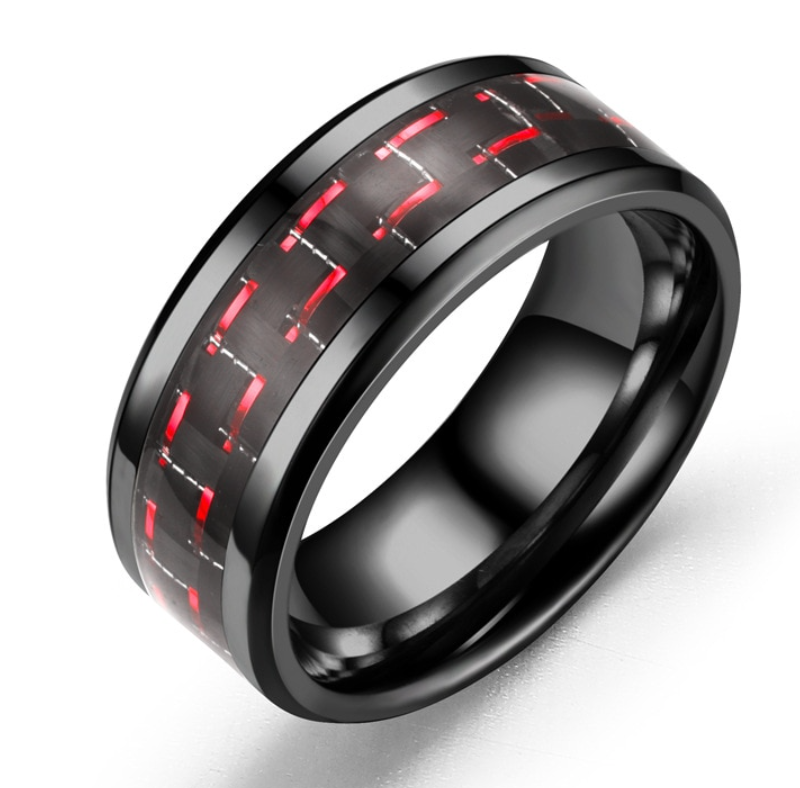 Polished Black Stainless Steel & Carbon Fiber Ring