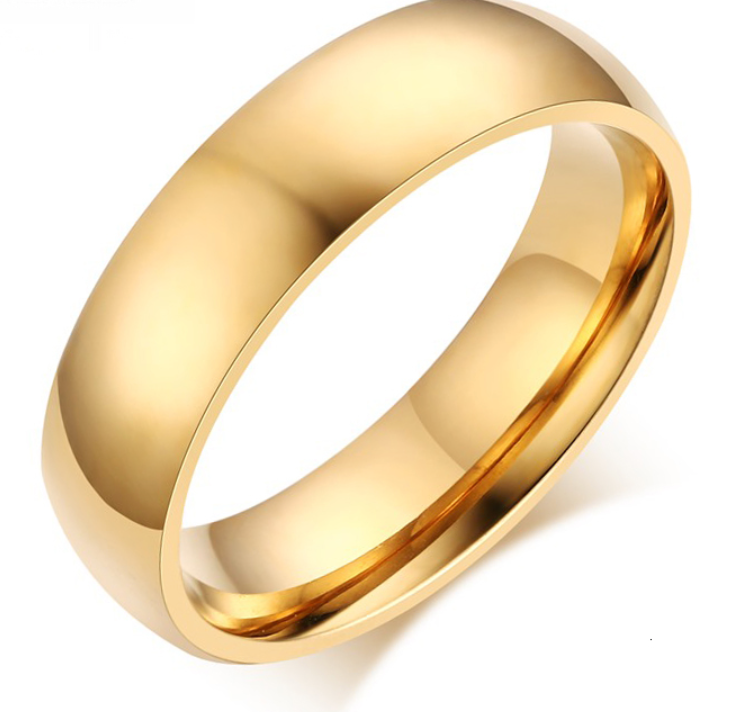 Gold Stainless Steel Band Ring 316 L