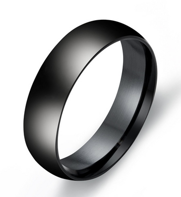 Polished Black Stainless Steel Band Ring 316L