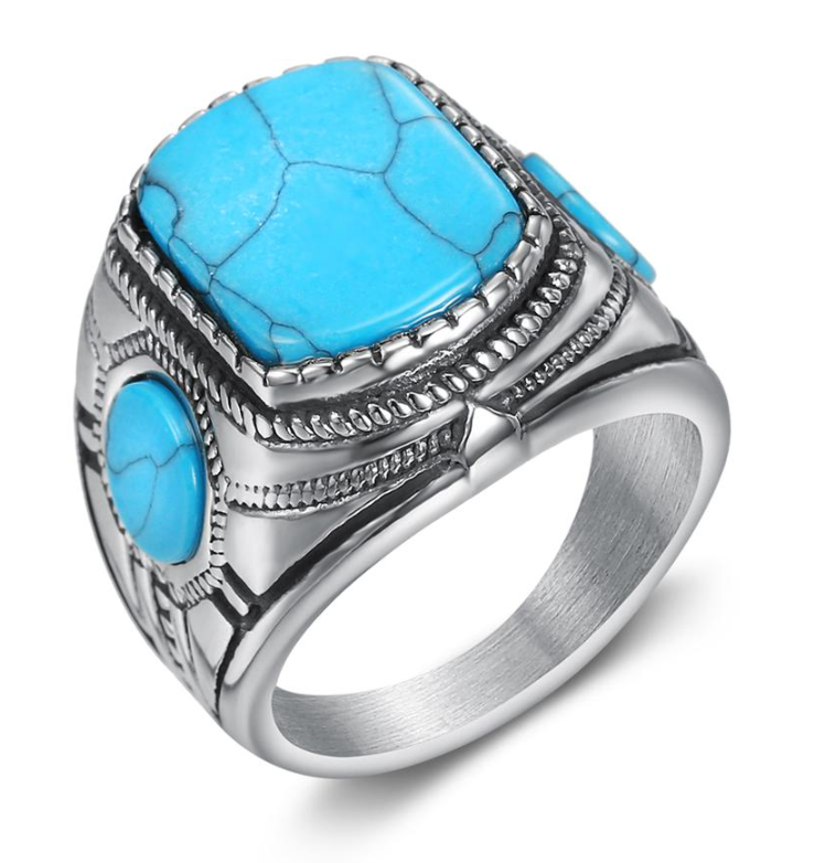NEW ITEM - Stainless Steel & Turquoise Mens Ring