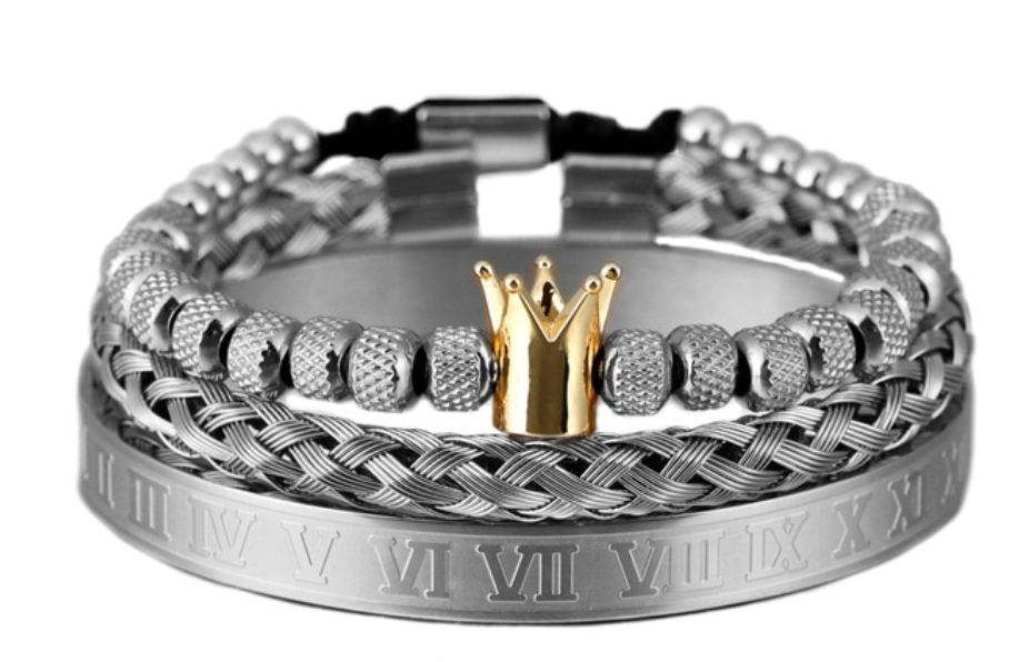 Stainless Steel Unisex  Crown / Roman numerals - Bracelet Set 3 Pieces ( Gold Crown )