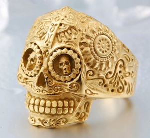 Stainless Steel Carved Skull ring - Multiple options