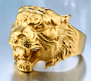 Gold Tiger Ring - Stainless Steel Ring with 18k Gold