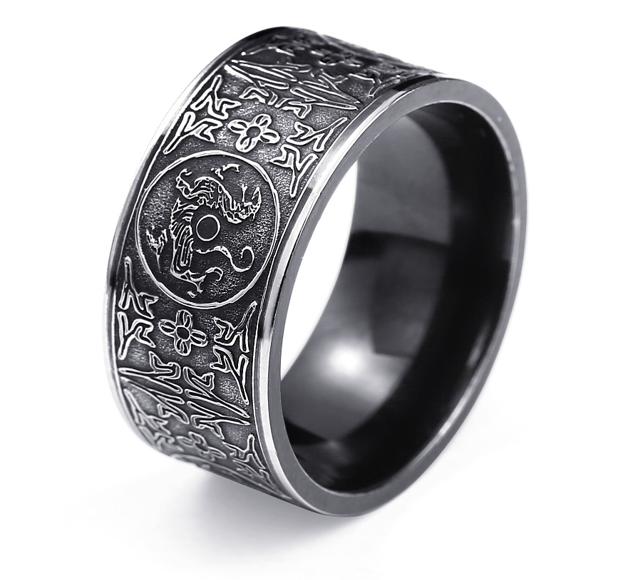 Stainless Steel - Asian Inspired Band Ring 316L - RAREBoutiques