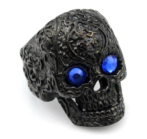 Black Stainless Steel Ring with Blue Eyes - RAREBoutiques