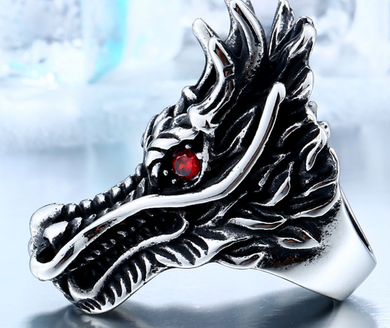 Stainless Steel Dragon with Red eyes  ring - RAREBoutiques