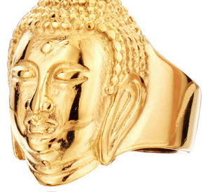 Buddha Stainless Steel Ring - Gold Tone - RAREBoutiques