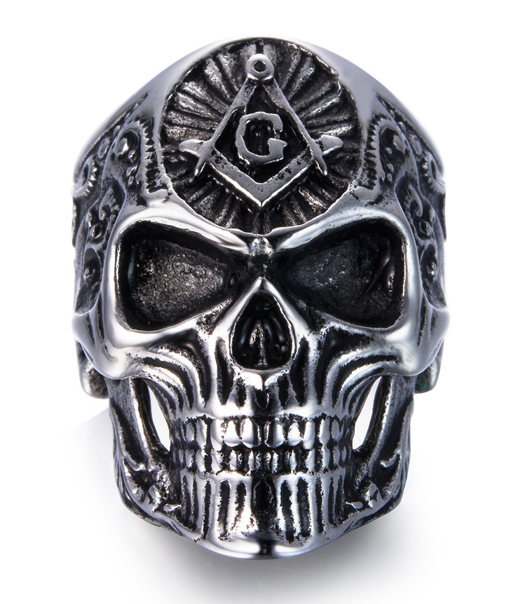 Freemason Skull Stainless Steel Ring