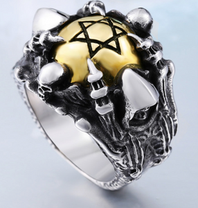 2 Tone Star of David Stainless Steel Ring