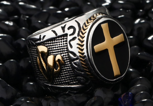 Vintage Stainless Steel Cross Ring -