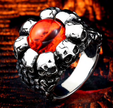 Dragons Eye with Skulls Stainless Steel 316 L  - Red Yellow - RAREBoutiques