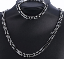 "Stainless Steel 316L Necklace 24""  and Bracelet 8"" Set - Two Tone - RAREBoutiques"