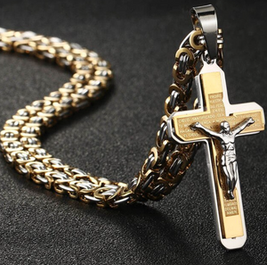 Stainless Steel Cross Necklace- Byzantine Chain - 4 styles
