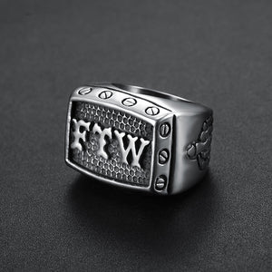 FTW Mens Biker Ring Stainless Steel 316L - Sizes 7 - 15 - RAREBoutiques