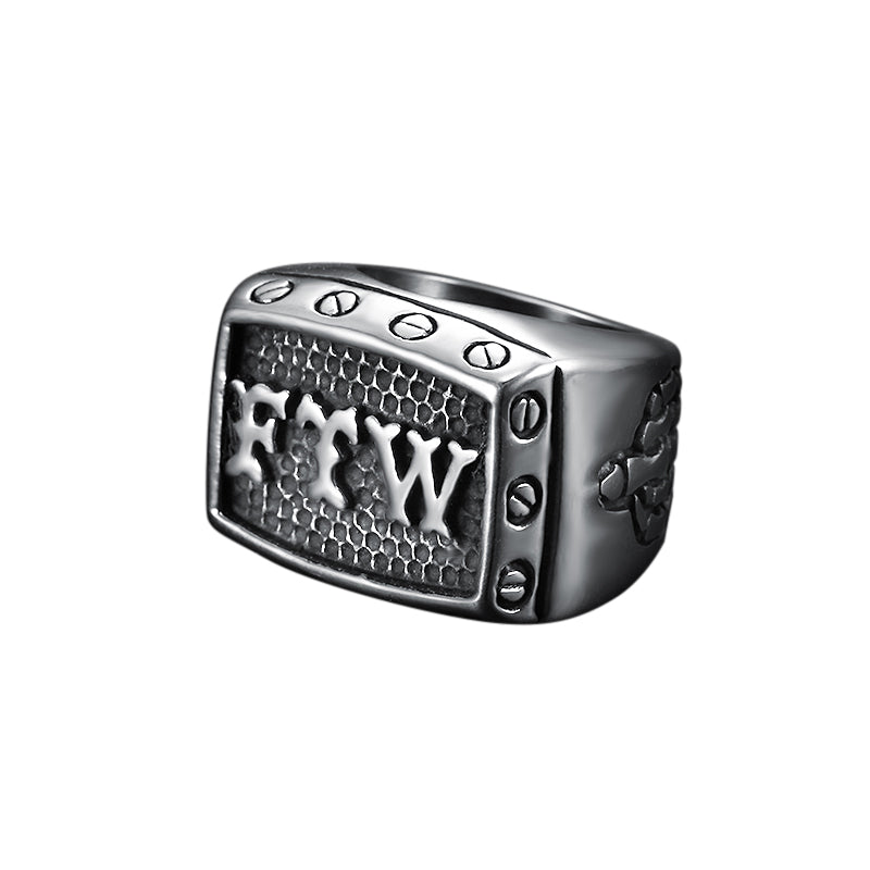 FTW Mens Biker Ring Stainless Steel 316L - Sizes 7 - 15