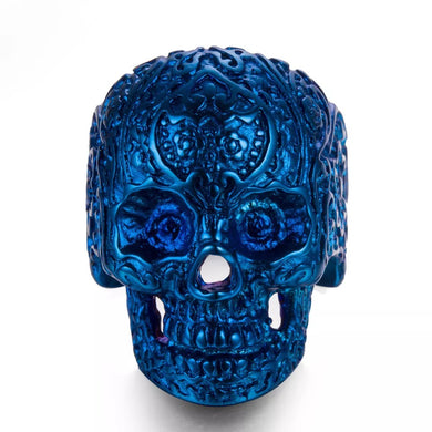 Sugar Skull Stainless Steel Ring 316L  - Blue , Black. Gold - RAREBoutiques