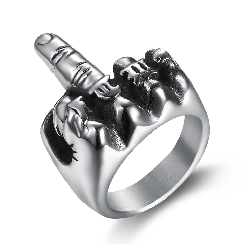 Middle Finger Stainless Steel 316 L Ring - Sizes 7 - 15 - RAREBoutiques