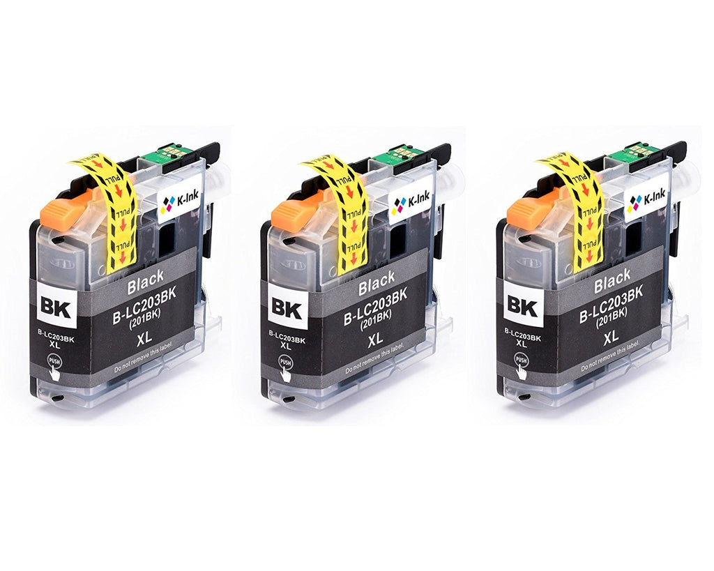 3 Pack Compatible Ink Cartridges Replacement for Brother LC-203(3 Black)