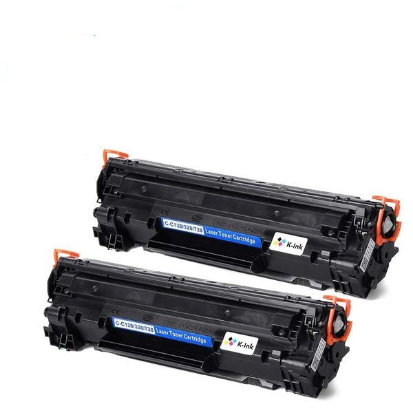 K-Ink Compatible Toner Cartridge Replacement for Canon 128 (2 Black)