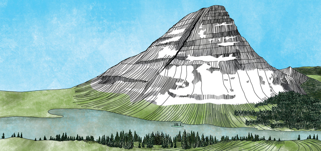 bearhat mountain illustration for sustainability page