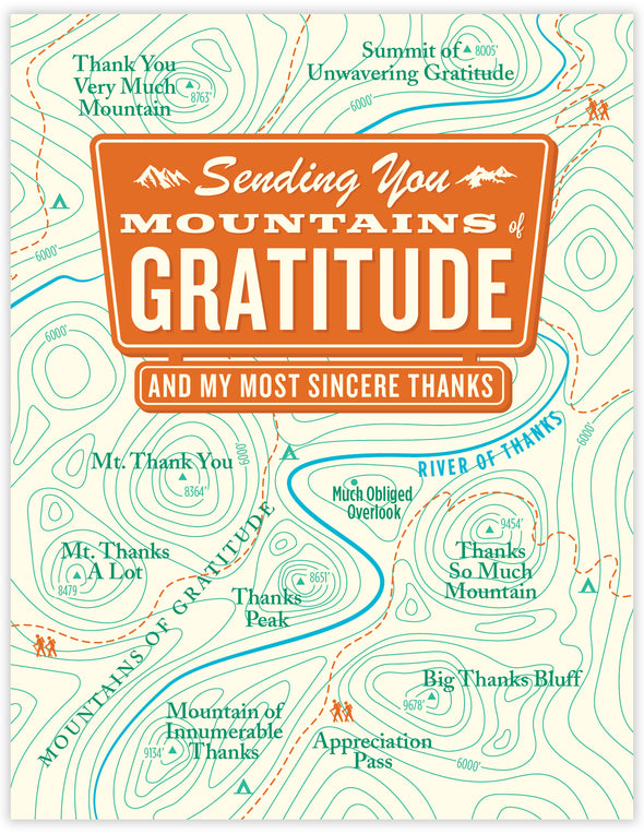 Mountains of Gratitude Map Un-Boxed Set of 8 Notecards