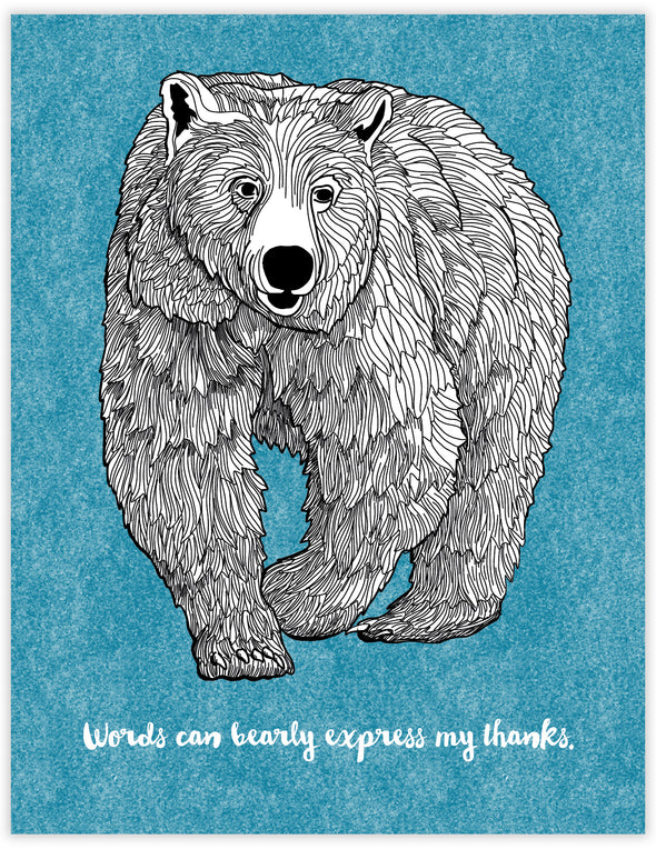 Bearly Thanks Un-Boxed Set of 8 Notecards